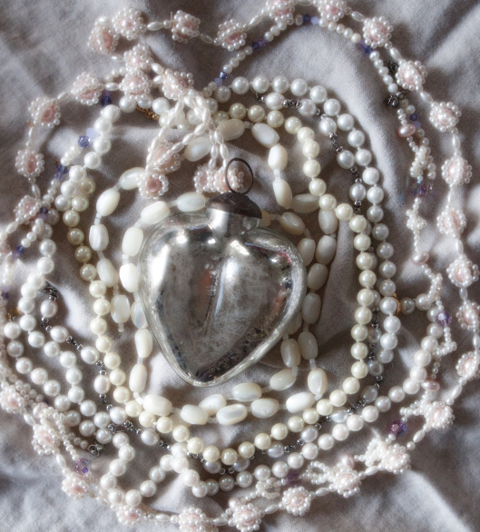 Mercury glass heart and pearls.