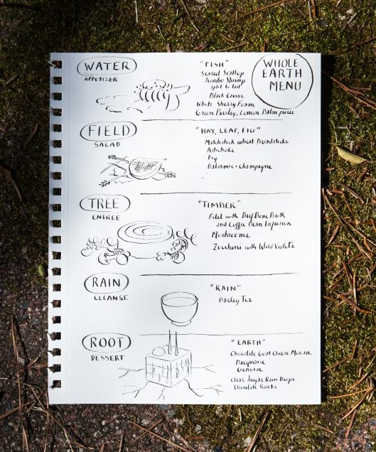 A menu for Whole Earth, a restaurant in my imagination.